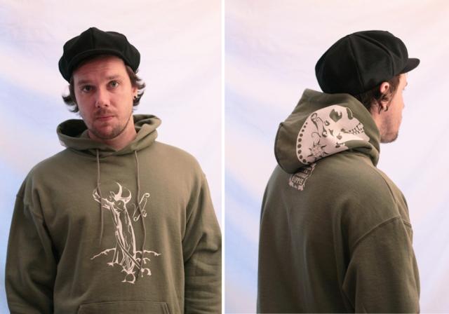 zombie juggler hoodie screen print