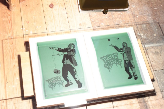 zombie juggler design exposed on a silk screen